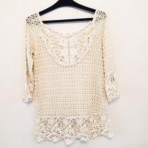 Umgee USA size L beige open knit crochet boho top